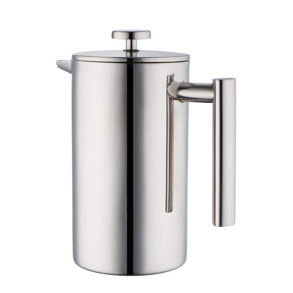 Stainless Steel Coffee pot French Press Coffee Maker | Double Walled Insulated Tea Brewer Pot Maker | Keeps Brewed Coffee