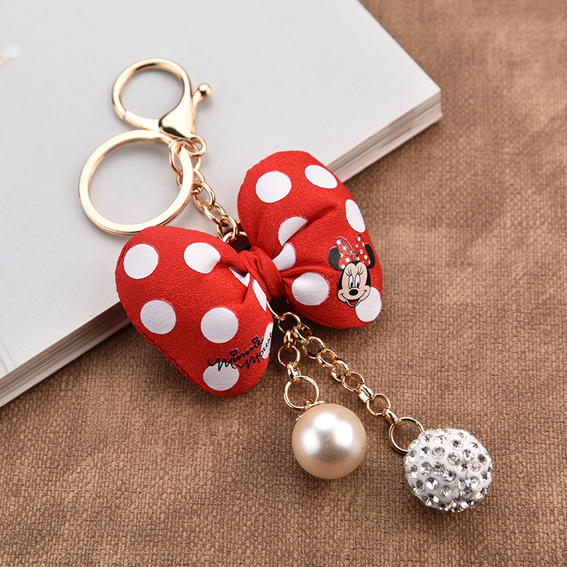 Fashion Mickey Keychain Plush Bow Knot Key Chain Gifts For Keyring Bag For Women Charms Key Holder Llaveros Chaveiros EH313