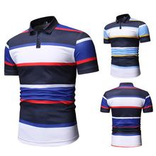 Stripes Polo Shirt Men Streetwear Fitness clothing Men Polo Shirt Yellow Red Fashion Short sleeve Summer Tops Lapels Tees polo red