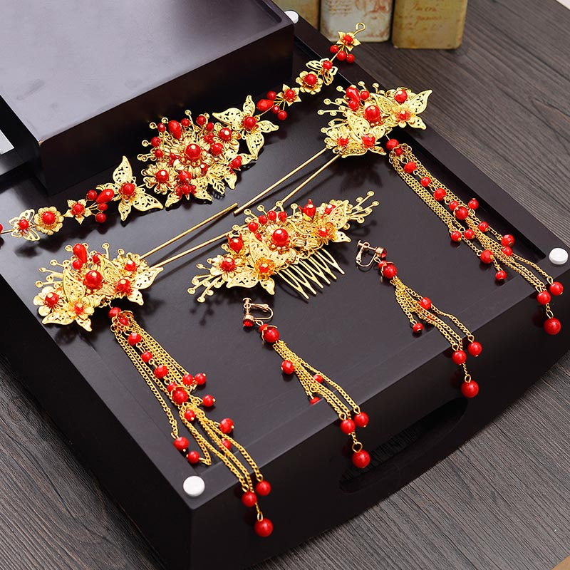 Bridal Golden Chinese Hair Accessories Wedding Ancient ...