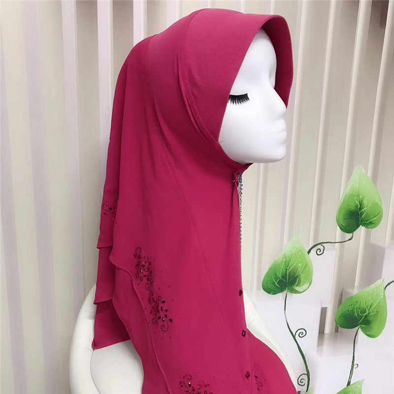 Convenient Instant Muslim One Piece Hijab Islamic Rhinestone Amira Headscarf