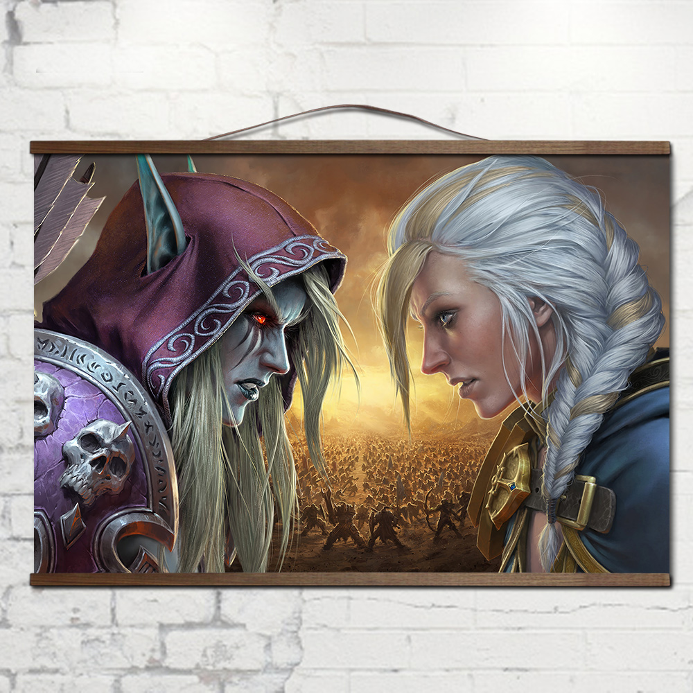 World of Warcrafts Battle for Azeroth poster Sylvanas  Anduin Jaina poster with solid wood hanging scroll  decoration painting