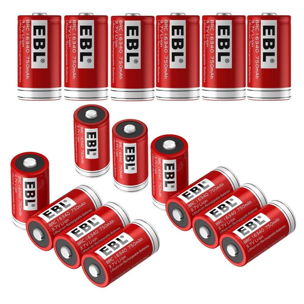 Piles EBL RCR123A (16 pièces) 750 mAh Batteries rechargeables Lithium-ion lampe de poche Arlo caméras de sécurité sans fil