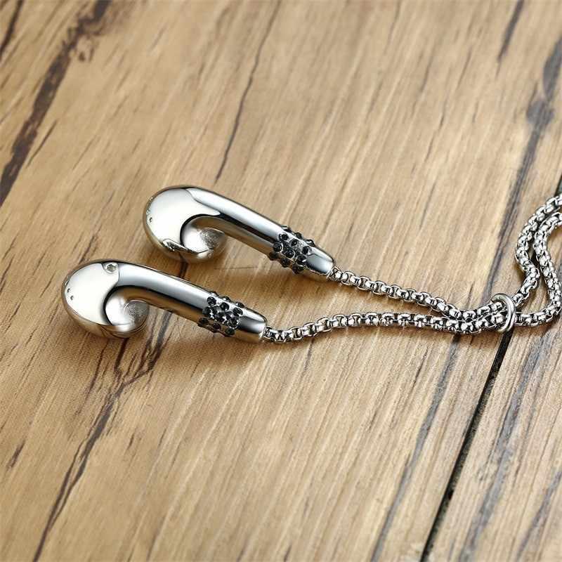 Dropshipping męskie słuchawki kształt wisiorek na co dzień stylowy naszyjnik dla mężczyzn kobiety Silverly ze stali nierdzewnej muzyka kochanka prezent