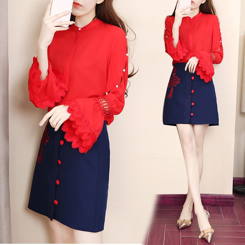 Two piece clothing set chiffon women suit new 2019 spring flower horn sleeve red shirt amp button skirt vestido lady outfit costum in Women 39 s Sets from Women 39 s Clothing