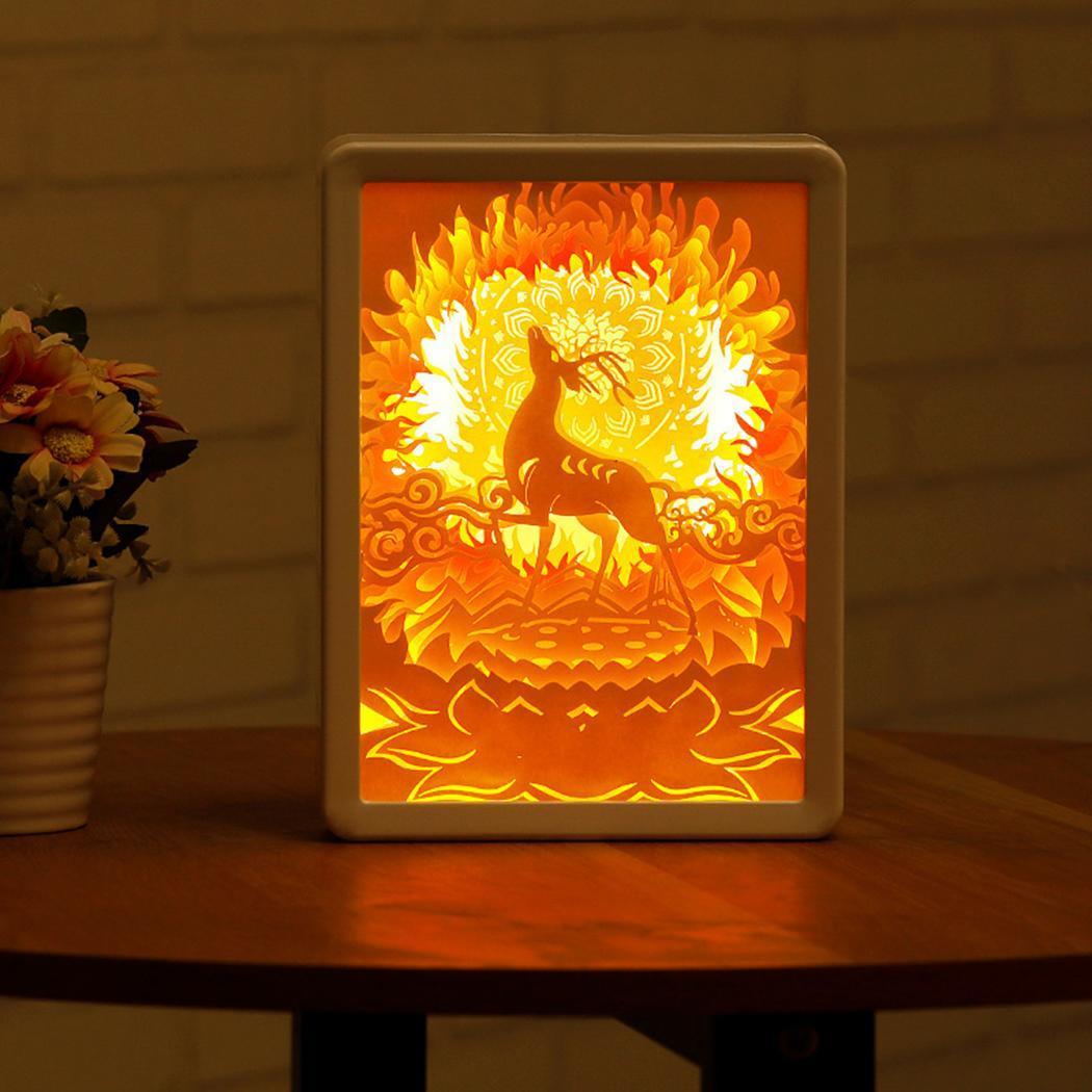 3d Licht Shadow Papier Carving Lamp Kleur Herten Nachtlampje Graveren Tafellamp Diy Handgemaakte Valentijnsdag Gift Voor Slaapkamer