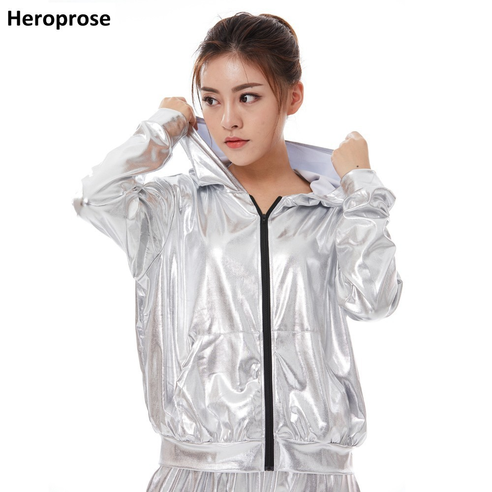2018 New Spring Autumn Kid Audlt Bomber Pockets Jacket Silver Stage Performance Paillette Feminina Casaco Hip Hop Dance Coat