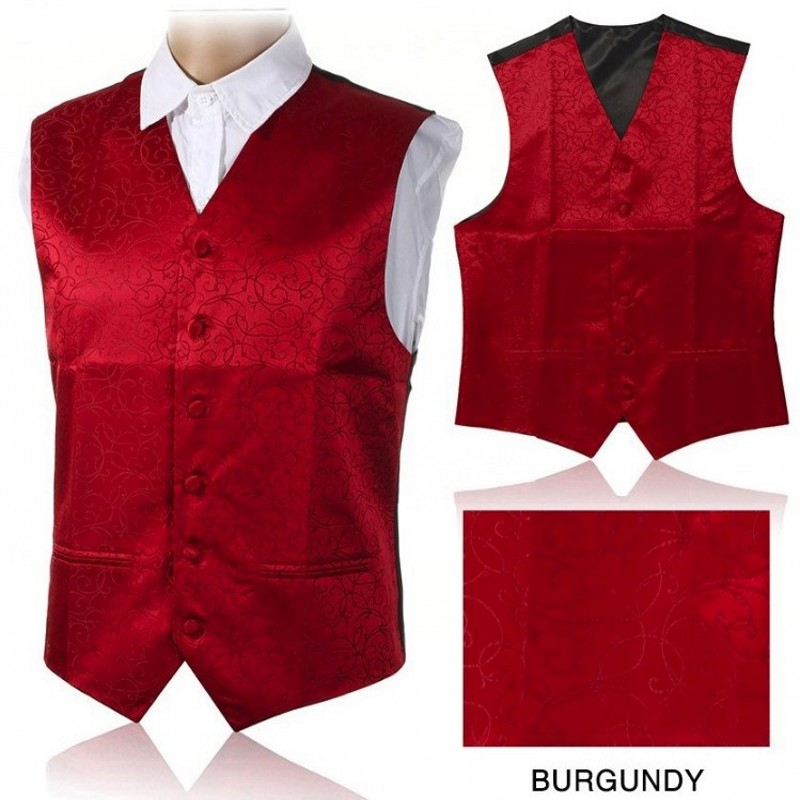 Men's Red Floral Fashion Waistcoat Vest Party Wedding Slim Suit Vest Suit 7 Color