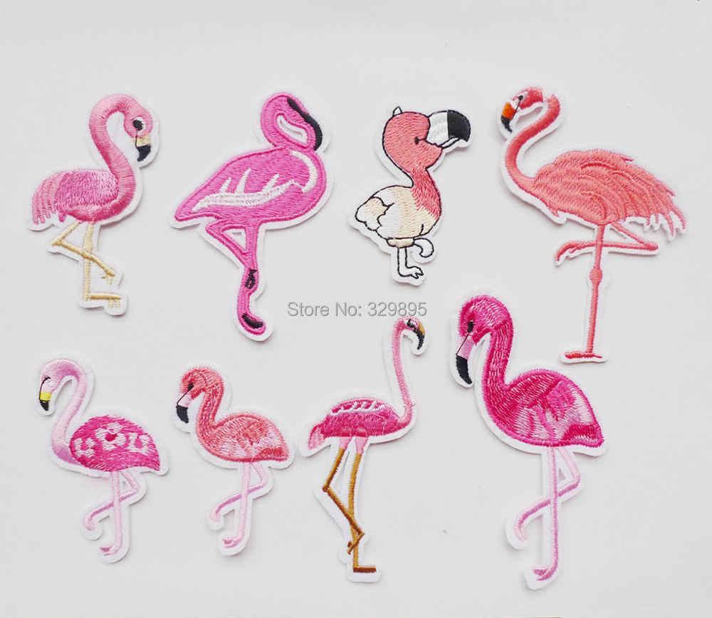1 pièces flamant rose oiseaux animaux broderie fer sur patchs pour vêtements bricolage rayures vêtement autocollants personnalisé Applique couture Badges