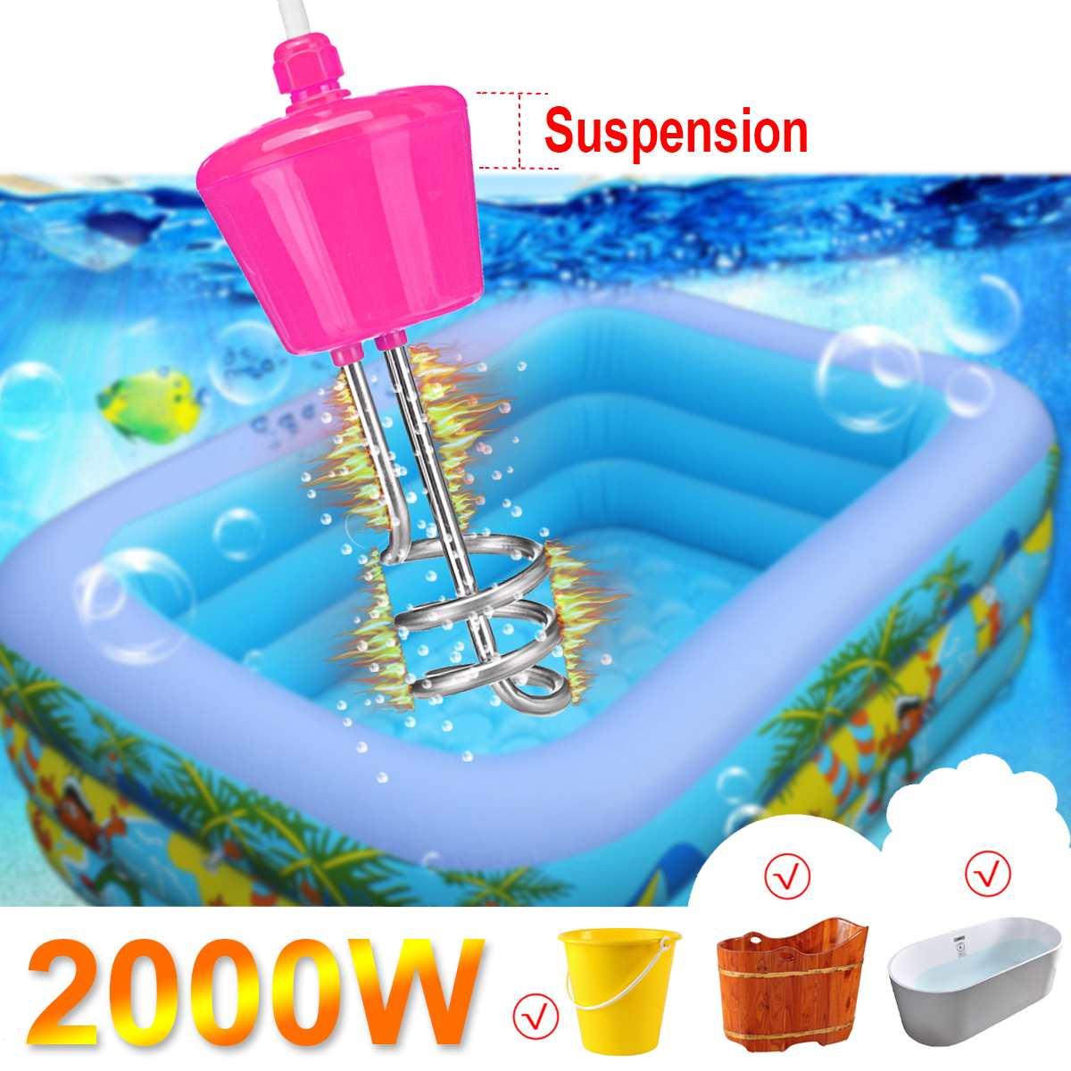 2000 W 220-250 V Tragbare Suspension Edelstahl Elektrische Schwimmenden Immersion Heizung Kessel Wasser Heizung Element Für Bad Gute WäRmeerhaltung