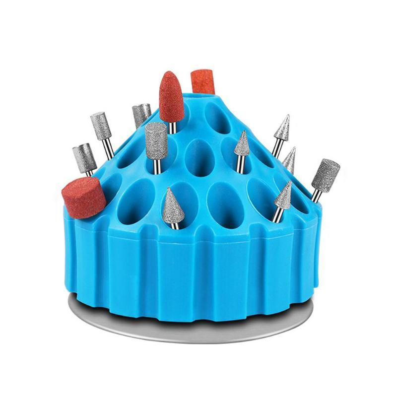 Multi-holes Tool Storage Box Electric Grinding Drill Bit Storage Box Case Stand Hard Plastic Organizer 360 Degrees Roatary Box