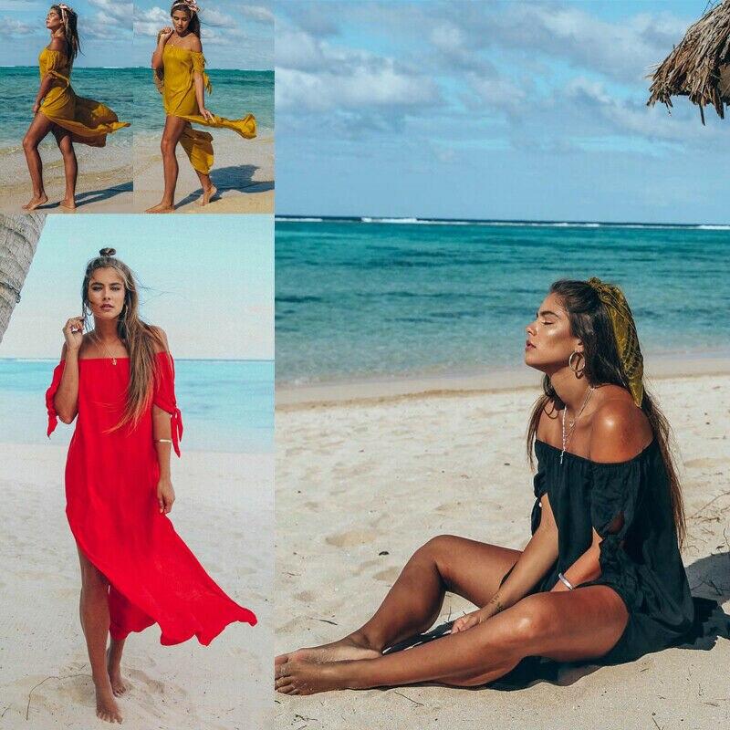 Moda mujer falda de playa un hombro sexy perspectiva split Falda larga color sólido bikini cubierta-Ups 2019 nuevo verano Mujer Bikini cubrir Floral encaje crochet hueco traje de baño cubrir-Ups traje de baño playa túnica Vestido de playa caliente