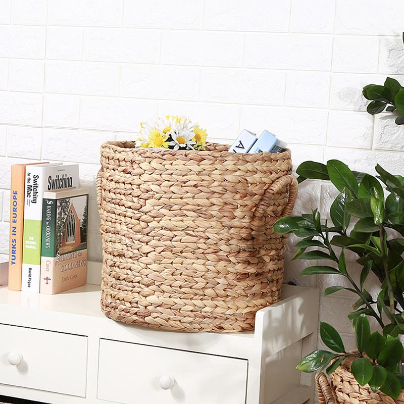 Natural Hand Rattan Woven Seagrass Belly Storage Basket Flower Pot Folding basket weaving dirty garment basket fruit basket in Storage Baskets from Home Garden