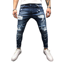 4c7f28613f6 Men Jeans Stretch Destroyed Ripped Paint point Design Fashion Ankle Zipper  Skinny Jeans For Men