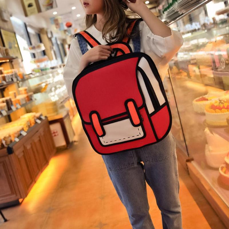 Fashion Creative Women 2D Drawing Backpack 3D Jump Style Cartoon Girls Travel School Bags Ladies Female Casual AccessoriesFashion Creative Women 2D Drawing Backpack 3D Jump Style Cartoon Girls Travel School Bags Ladies Female Casual Accessories