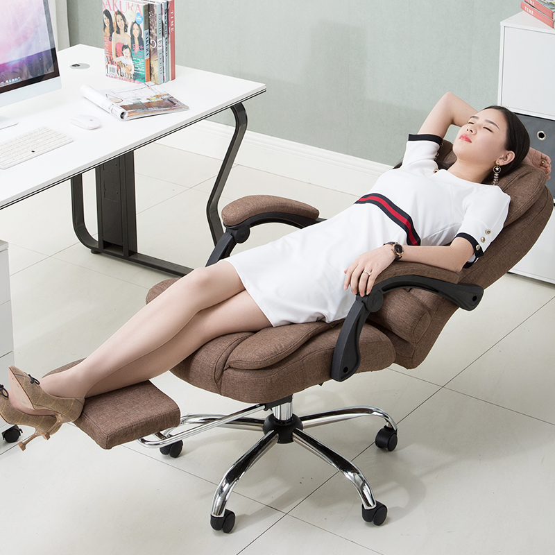 Breathable Cloth Art Computer Chair Multifunction Flax Lift Chair Household Reclining Swivel Chair with Footrest Massage ChairBreathable Cloth Art Computer Chair Multifunction Flax Lift Chair Household Reclining Swivel Chair with Footrest Massage Chair