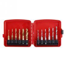 12pcs M3 M10 Hex Shank Titanium Plated HSS Screw Thread Metric & Inch Tap Drill Bits Set with Box High Speed M4 M5 M6 M8 Twist