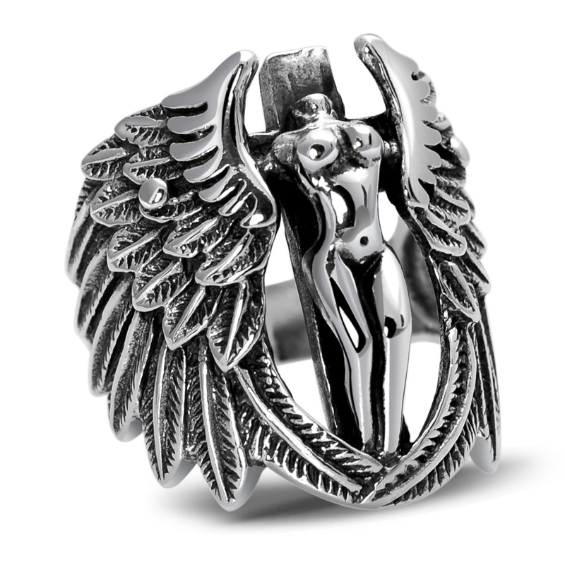 925 Sterling Silver Retro Headless Guardian Angel Men Male Ring Thai Silver Fine Jewelry Gift Finger Ring CH028216 100% genuine 925 sterling silver retro men male ring thai silver fine jewelry gift snake cross heavy finger ring ch057436