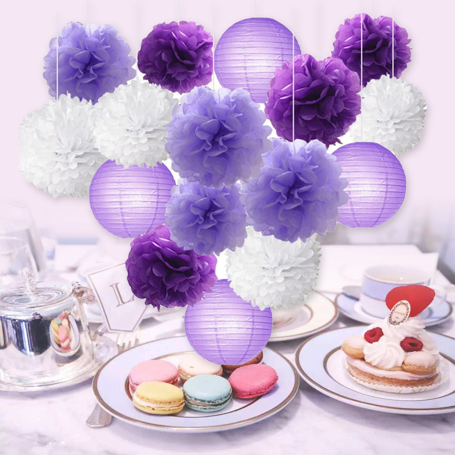 16pcs Purple DIY Hanging Paper Flower Ball Pompon Tissue Round Flower Paper Lantern Wedding Festival Party Hanging Decorations
