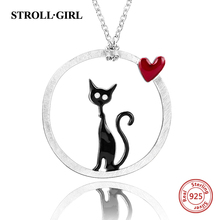 StrollGirl 100% sterling silver 925 lovely cat necklaces & pendant with enamel for women anthentic silver jewelry цена в Москве и Питере