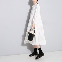 2019 Spring and autumn new stylish pressure pleated ashing loose large swing bottom dress female 502