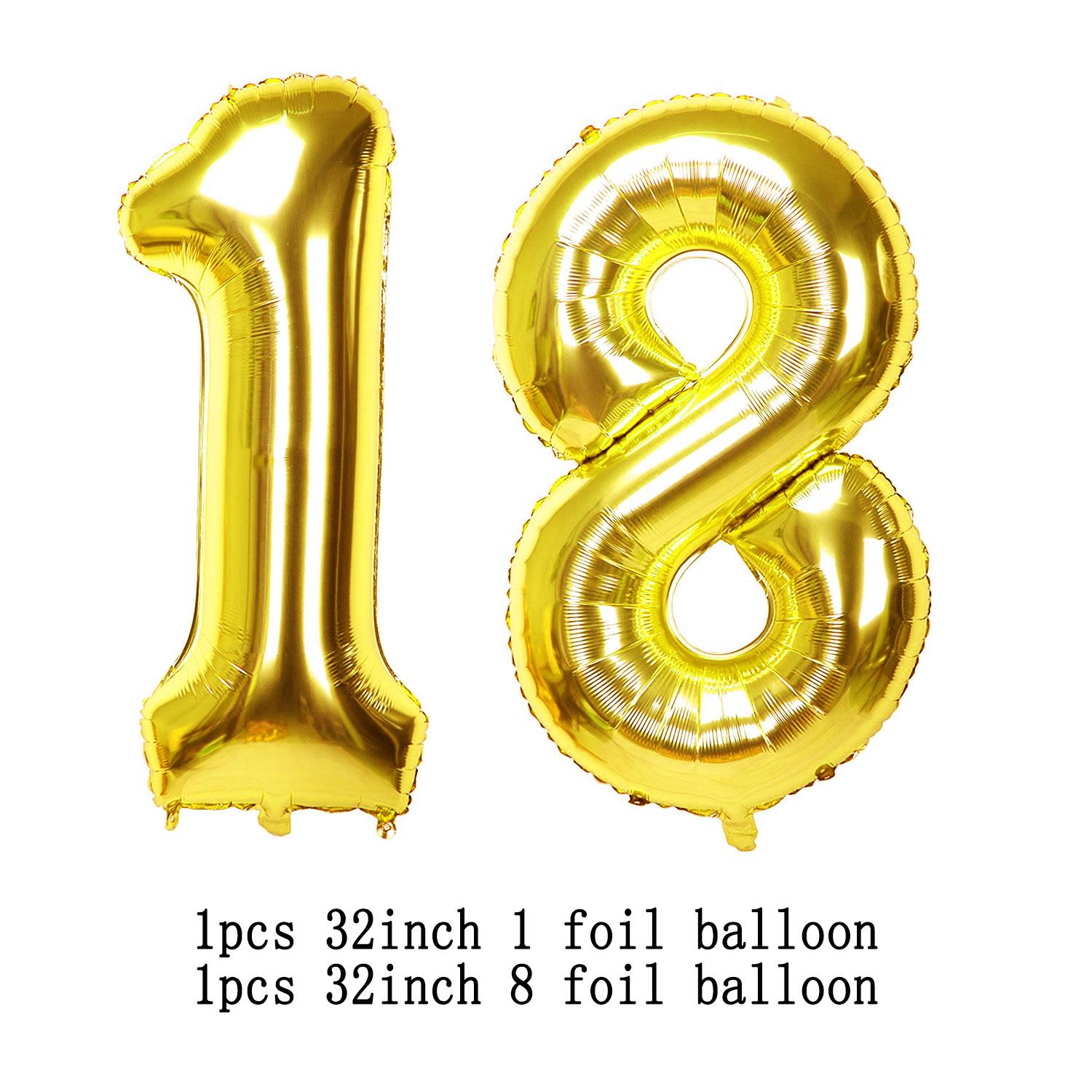 Amawill 18th Birthday Decorations Adult 32inch Gold Number Balloons Black Happy Banner Latex Globos Mylar Heart 8D In Party DIY From