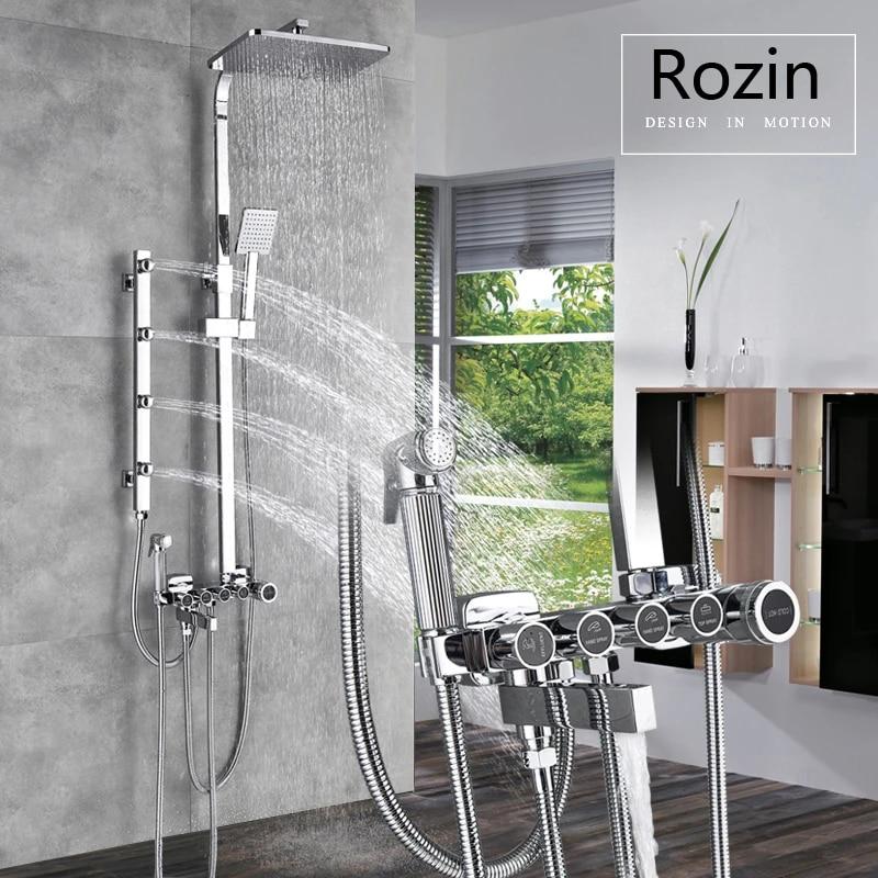 body massage jet chrome shower faucet set wall bath shower mixer faucet bath shower spout bidet sprayer head rain shower head