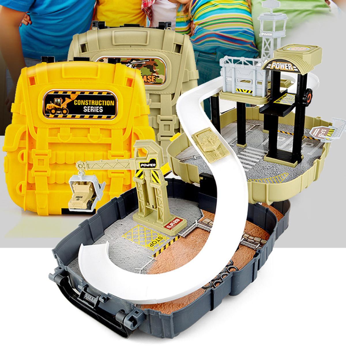 Piste voiture Parking ensemble jouet véhicules sac à dos boîte jeu de course véhicule Construction modèle Construction jouets Kit enfants cadeaux