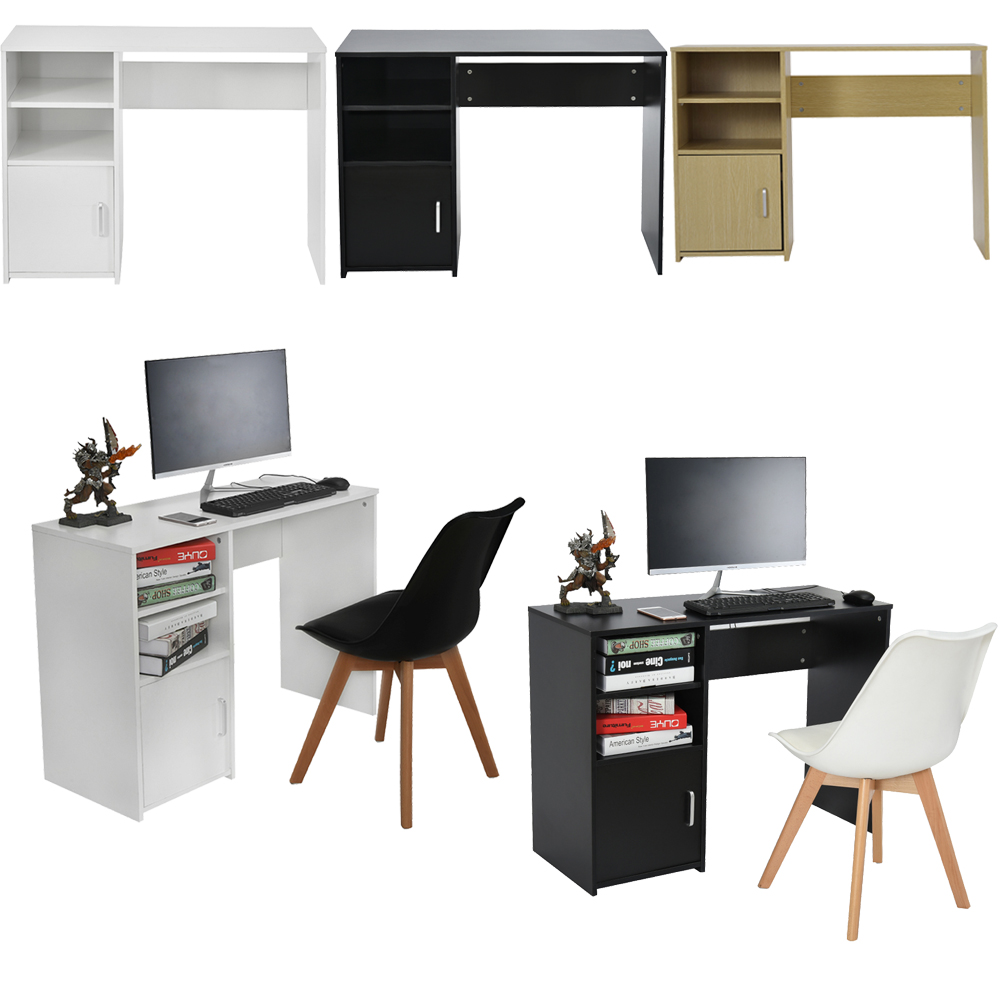 Panana Modern Practical Computer Desk Office Student Study Table Corner Home Furniture With Cupboard Books Shelves