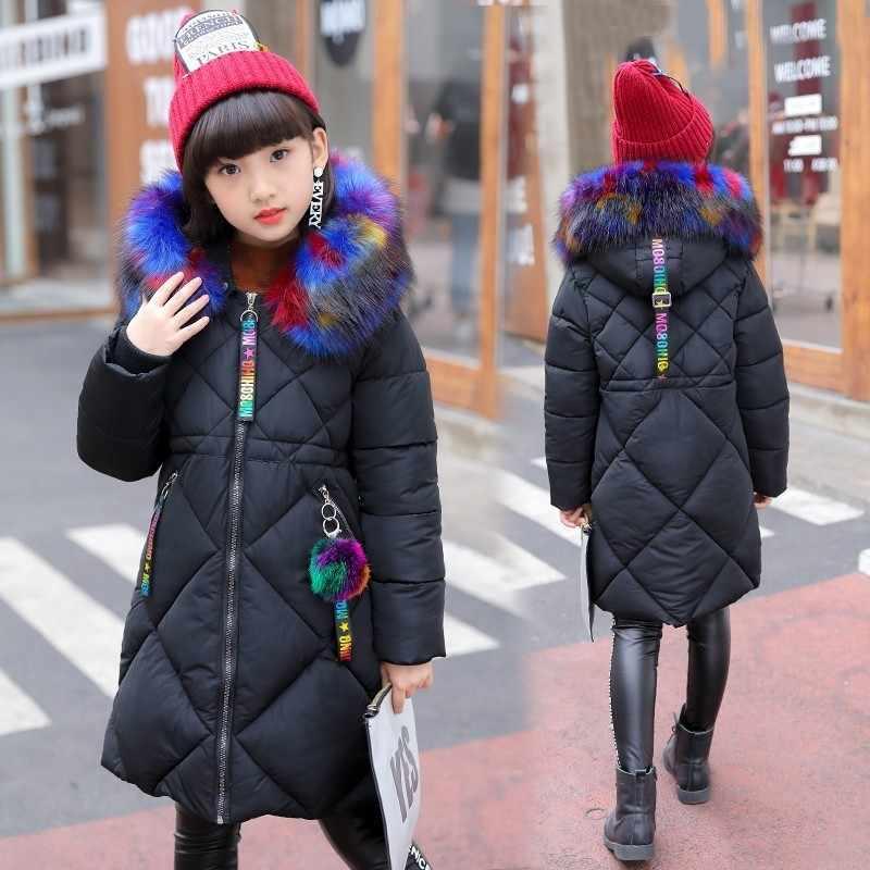 Куртка на девочку с хлопковой подкладкой, до -30 градусов, зимняя детская разноцветная парка с меховым воротником, теплая верхняя одежда