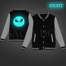 224df90a869 The Nightmare Before Christmas Jack Luminous Baseball Jacket Hip Hop  Jackets Coat Women Men Autumn Winter