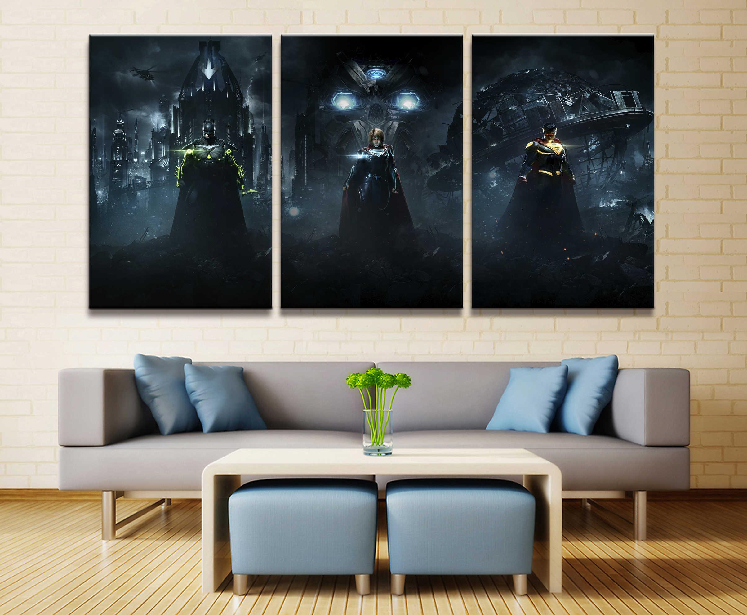 Printed Canvas Poster Framework Home Decor Wall 3 Pieces Superman Batman Movie Mark For Living Room q50