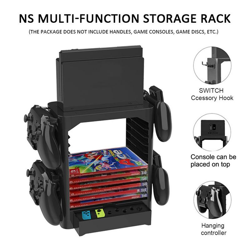 Multi-Function Gamepad Disc Storage Holder ABS 10th Floor Bracket FOR Nintendo Switch Disc Game Handle Consoles Mainframe Box