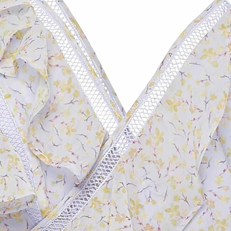 CHICEVER сексуальное платье с принтом для женщин оборки, открытые плечи с высокой талией ассиметричное миди платья Женская мода 2019 Лето Новинка