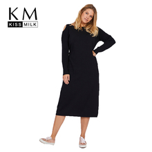 Kissmilk  2018 New Simple Big Size Pure Black Off The Shoulder Trim Figure A Knitted Comfortable Fashion Style Dress