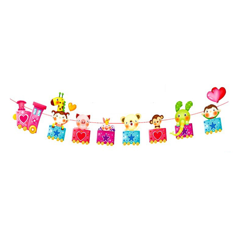 1 Set Cute Cartoon Animal Train Birthday Decor Banner Kids Happy Family Baby Shower Party Birthday Party Decorations art