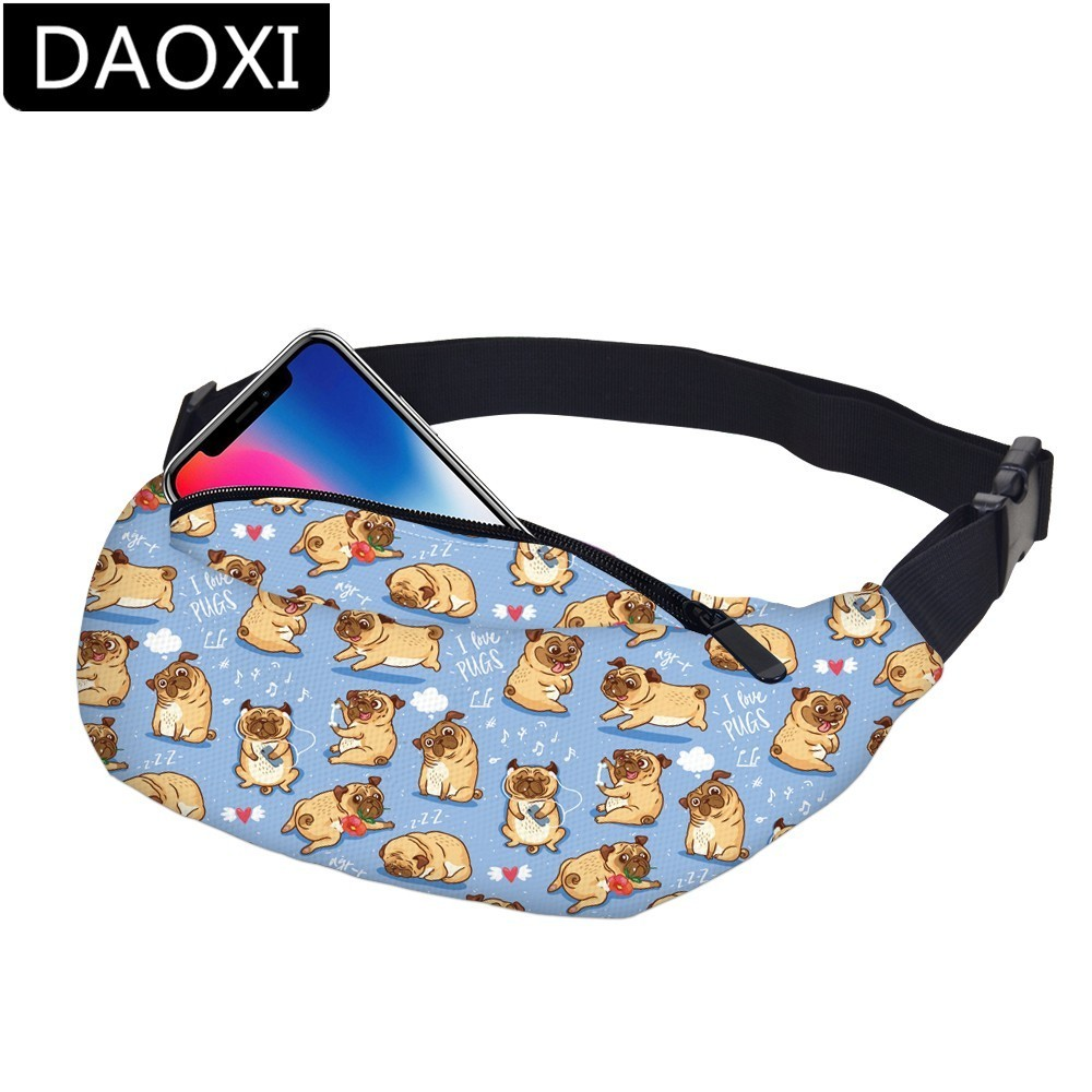 DAOXI Heart Waist Packs Waterproof Cute Pugs Fanny Pack Adjustable Belt Bag For Men&Women Hip Bum Bag Dropshipping DXYB-59