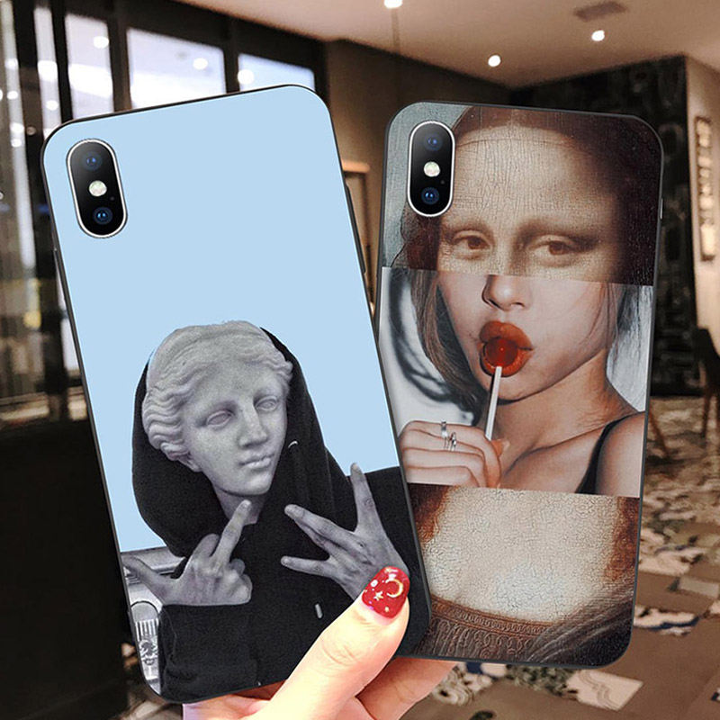 Moskado Funny Art Abstract Phone Case For iPhone X XR XS Max 7 8 6 6s Plus 5 5s SE 10 Silicone Cases Statue Soft TPU Back Cover(China)