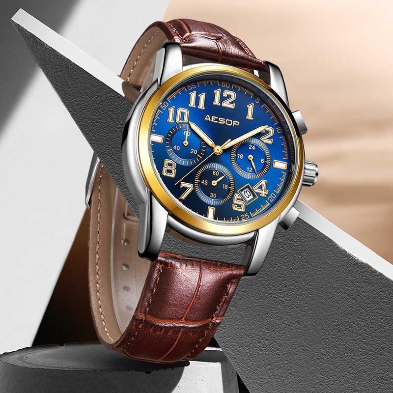 Ezopa sporta mężczyzna zegarek kwarcowy skórzany pasek do zegarka mężczyzna zegar na rękę, odporna na wstrząsy wodoodporna Relogio Masculino Hodinky 1008g