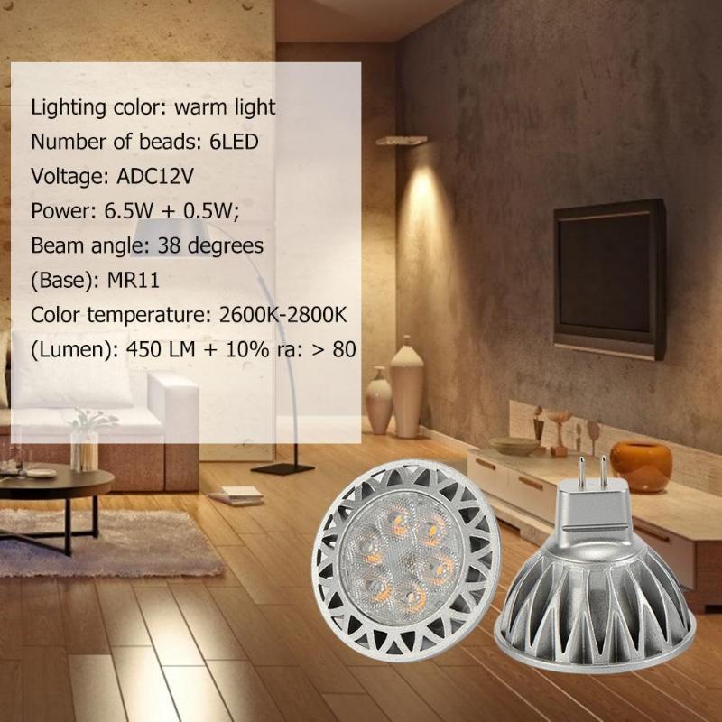6 pièces GU5.3 7 W 12 V Mini ampoule à LED 6 LED lampe à lumière chaude remplacer la lumière halogène 20 V 110 V lumières ADC 12 V