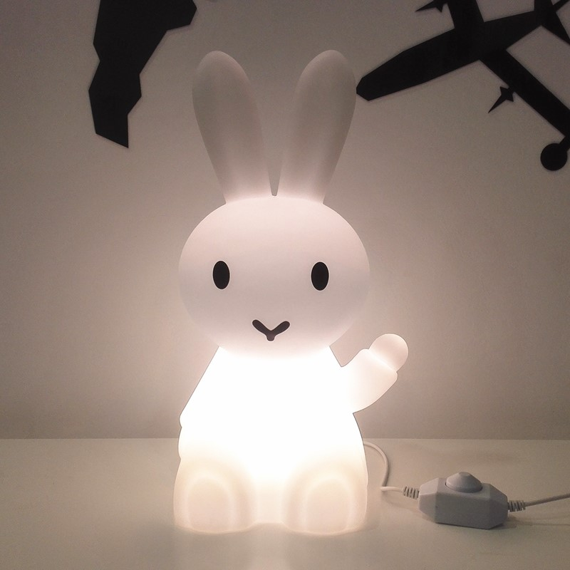 36cm Bunny Hare Rabbit Night Light Children Kids Baby Christmas Birthday Gift Toy Living Room Bedside Desk Dimmable Table Lamp