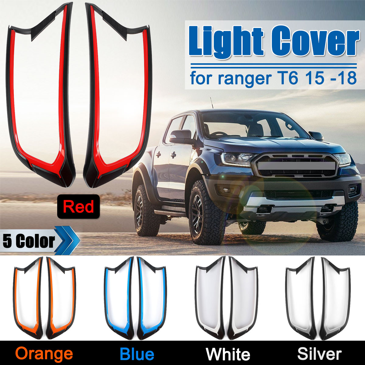 2Pcs set 5 Colors Head Light Front Covers Shell Lampshade Without Light For Ford Ranger T6