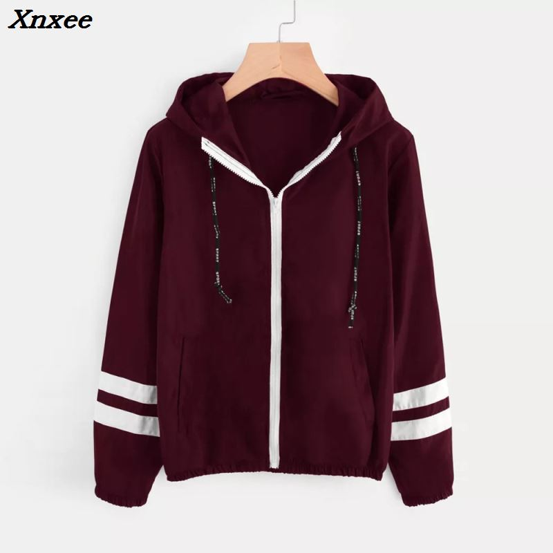 Xnxee Tone   basic     jacket   women hooded Long sleeves zipper pockets women winter coat Casual autumn Windbreaker   jacket   coat 2018