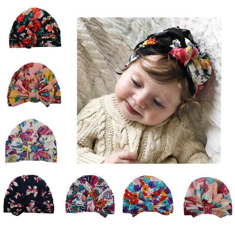 Infants Baby Girls Newborn Hospital Cap Beanie Hat Bowknot Chic Comfy Flower Cap
