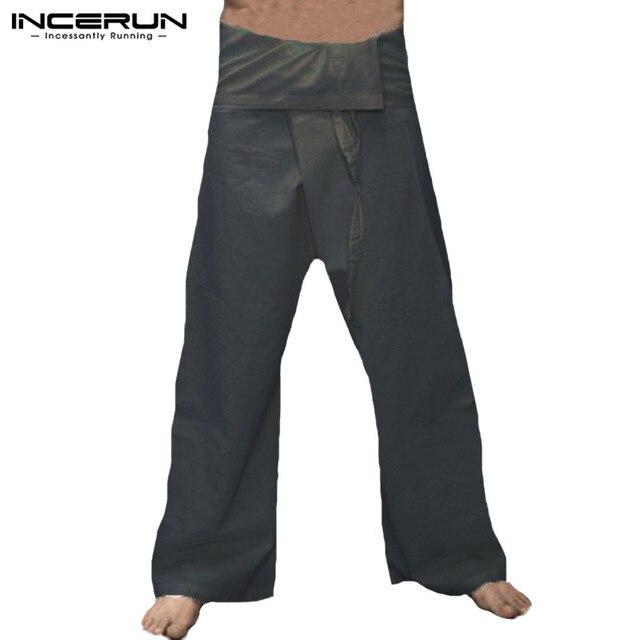 Mannen Thaise Visser Broek Katoen Brede Benen Losse Mode Broek Mannen Solid Lace Up Mannelijke Casual Broek Pantalon Hombre 5XL INCERUN