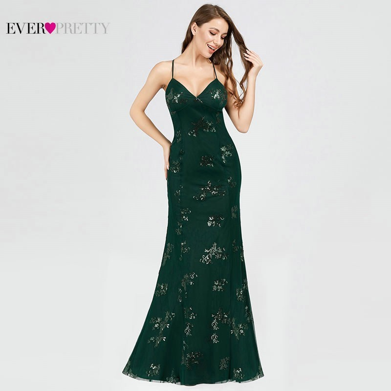 Elegant Evening Dresses Long V-Neck Sequined Mermaid Sexy Backless Party Dresses 2020 Elegant Shiny Formal Dresses EB07822