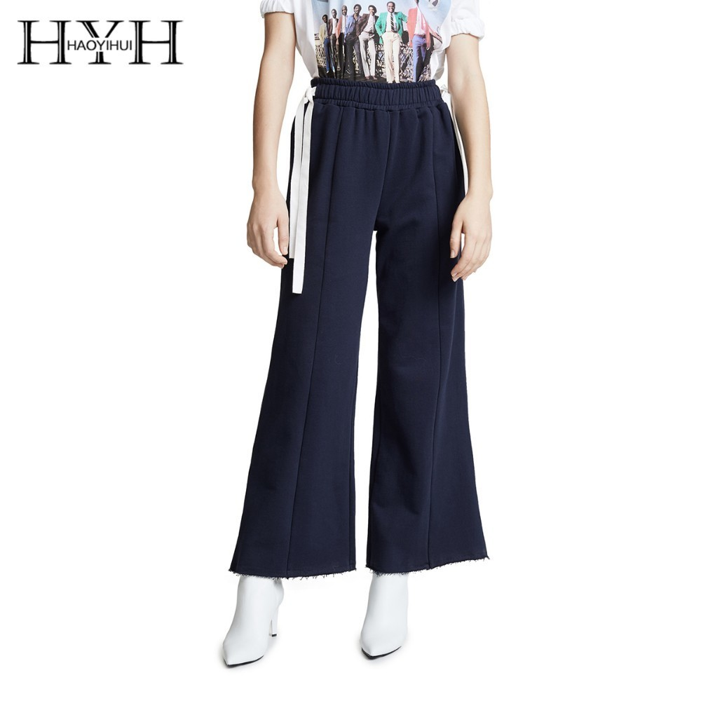 HYH HAOYIHUI  2019 New Fashion Simplicity Commuter Fringe Trousers Side Bandage Elastic Waist Wide Leg Pants