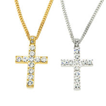 HPXmas Exquisite Bible Hip Hop Cross Pendant Long Necklace in Golden /Silver color Jewelry men & women accessories jewelry C8(China)