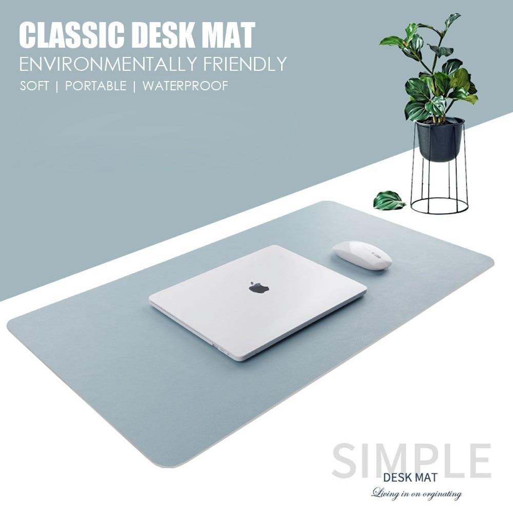Double face tapis de souris utilisable Portable Grand tapis de souris de jeu imperméable PU cuir tapis de bureau Grand tapis Gamer Muismat 60x30 80x40 cm