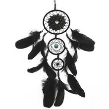Mysterious Multi-Ring Black Dream Catcher Hanging Ornament Retro Artificial Feather Wall Art Home Decor